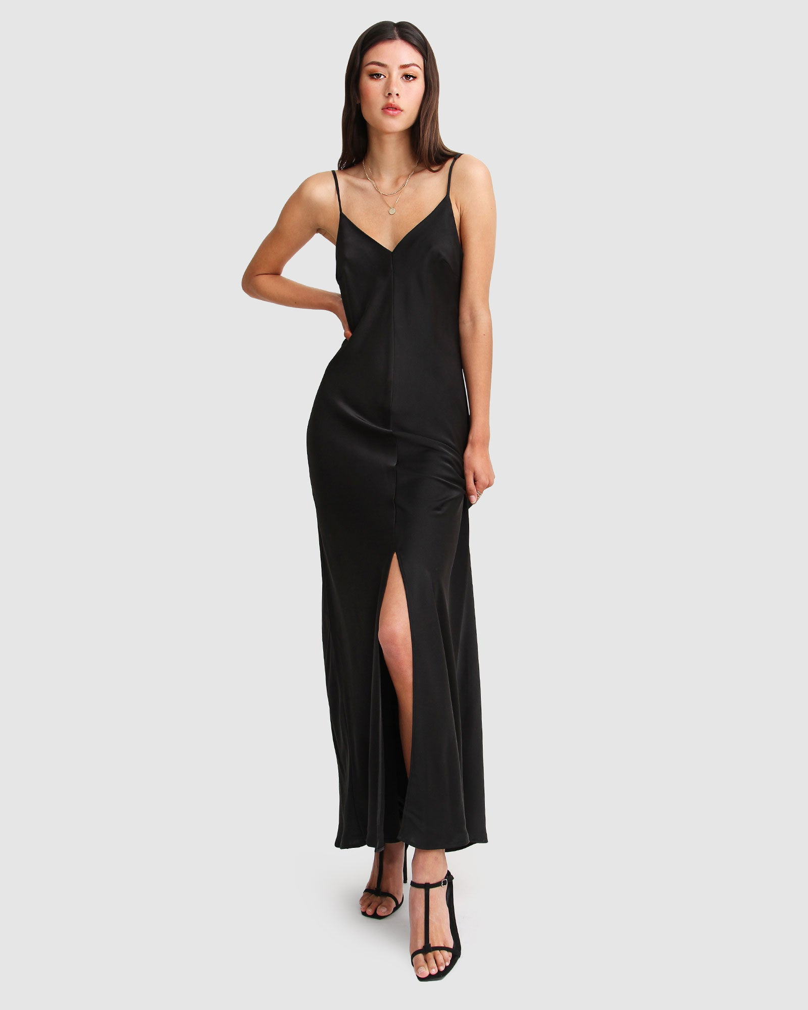 Slip Up Maxi Dress - Black