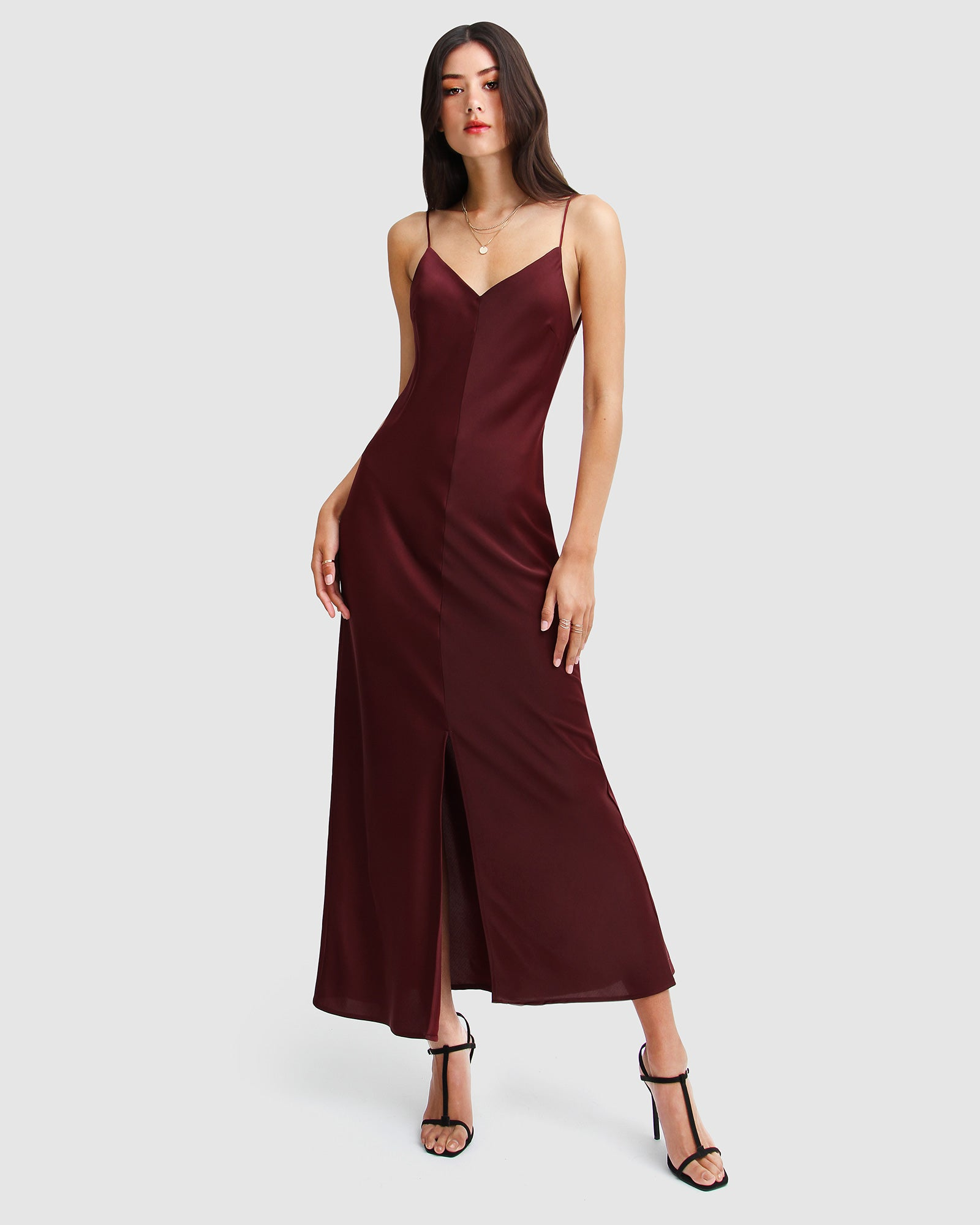 Slip Up Maxi Dress - Burgundy