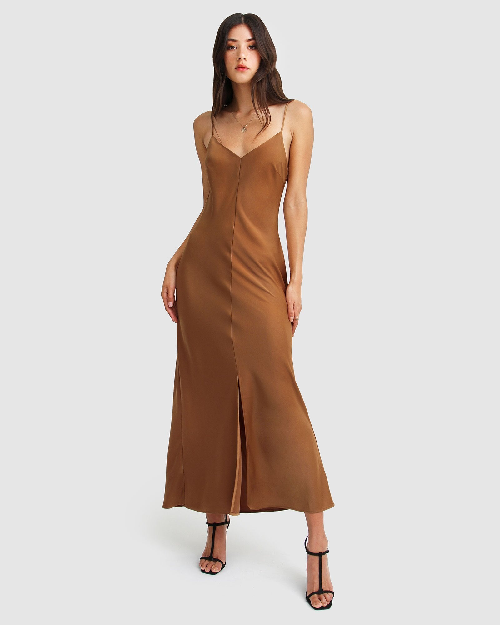Slip Up Maxi Dress - Copper