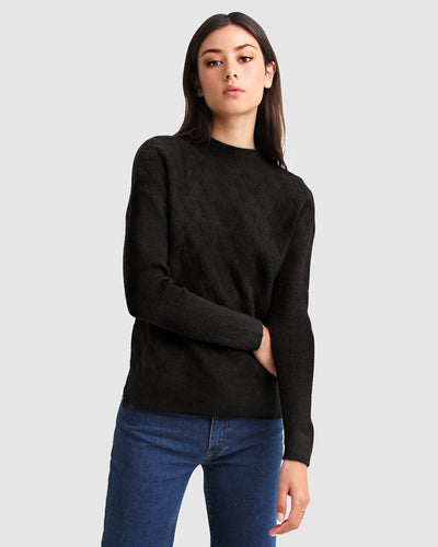 So Fluffy Diamond Stitch Jumper - Black