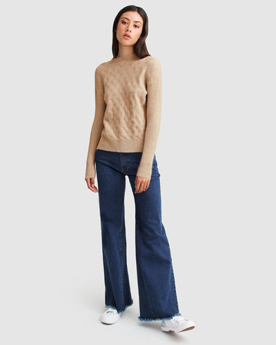 So Fluffy Diamond Stitch Jumper - Camel