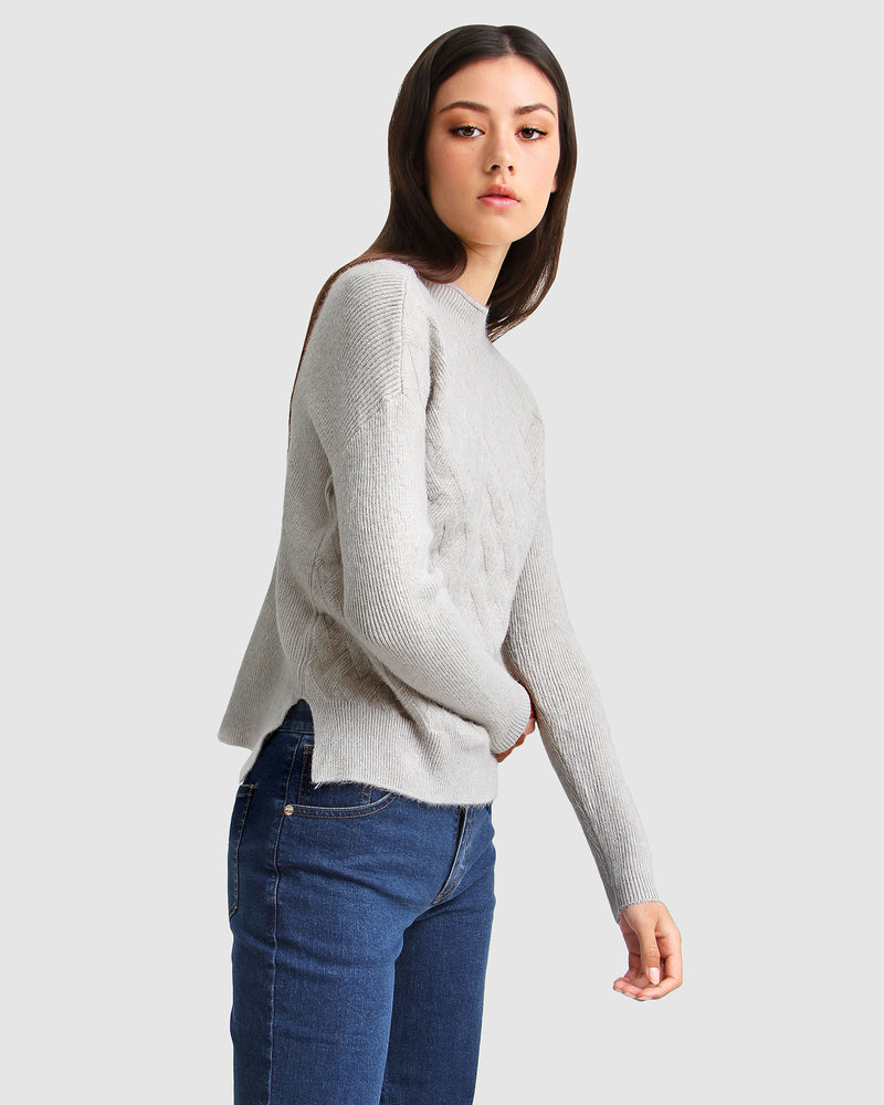 So Fluffy Diamond Stitch Jumper - Grey