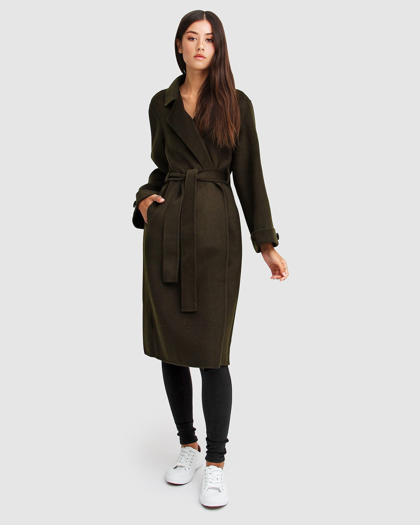 Stay Wild Oversized Wool Coat - Military
