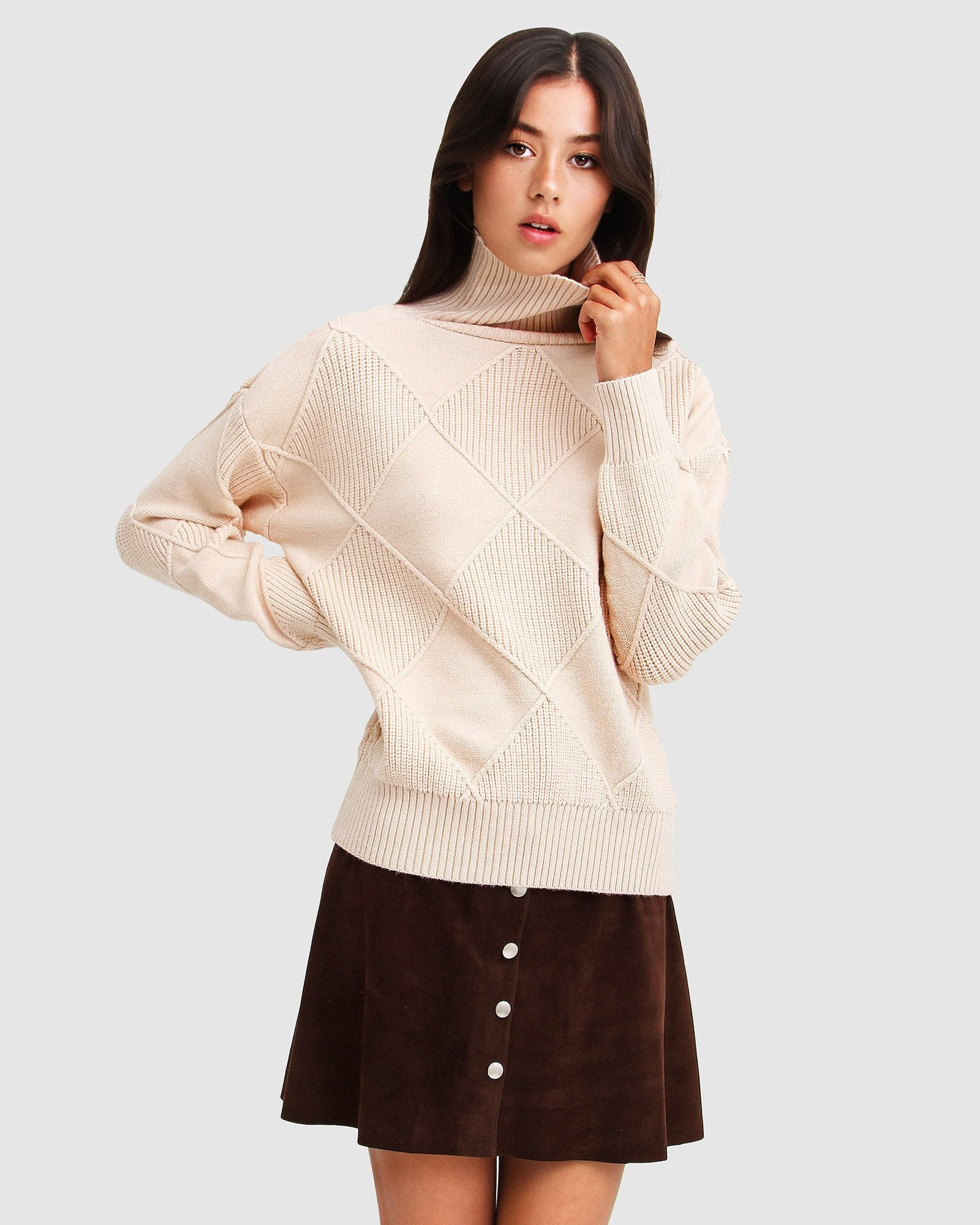 The Academy Turtleneck Jumper - Ivory