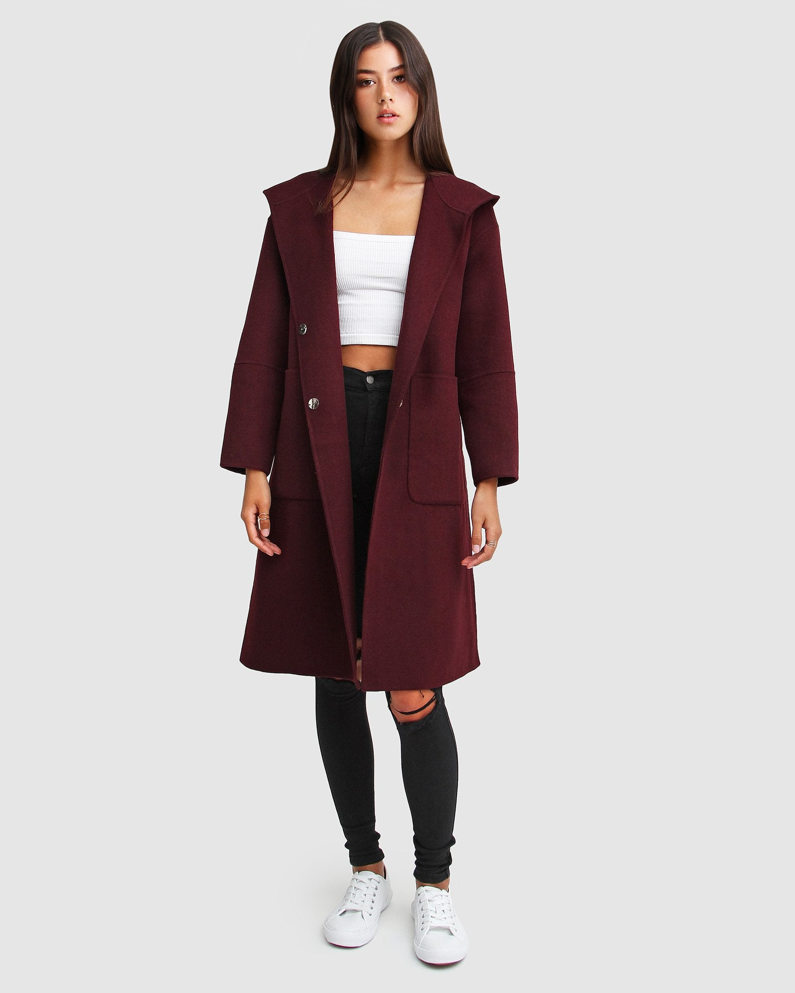 Walk This Way Wool Blend Oversized Coat  - Aubergine