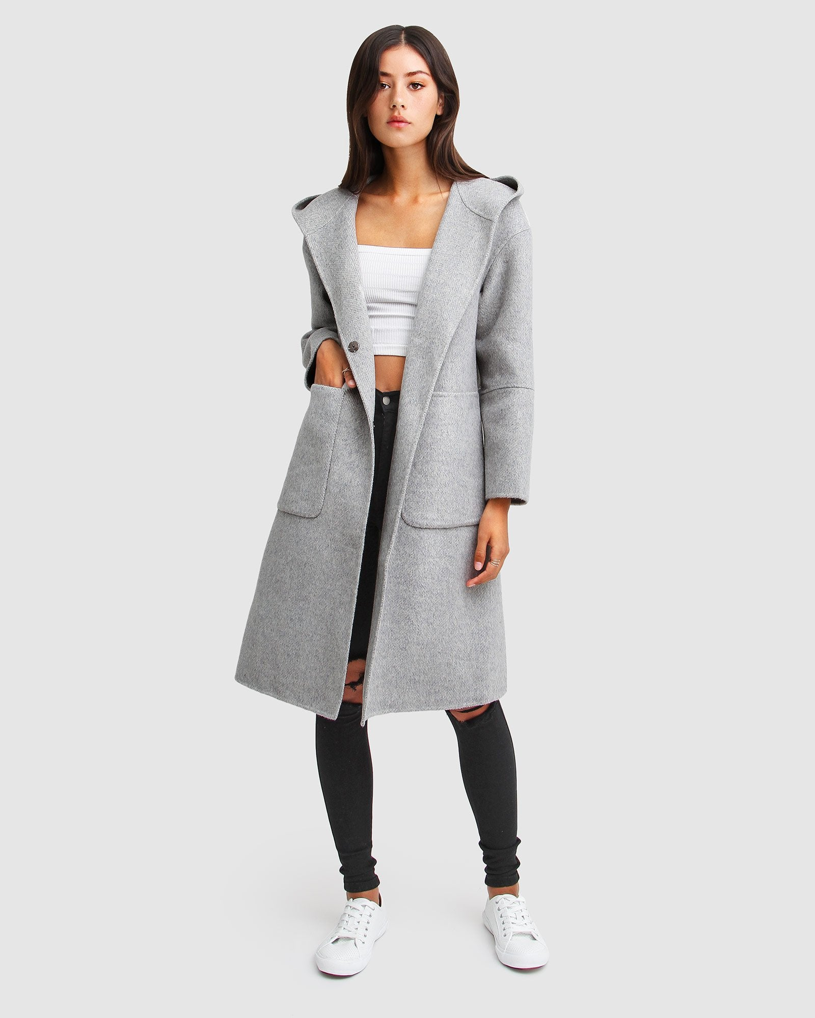 Walk This Way Wool Blend Oversized Coat - Grey