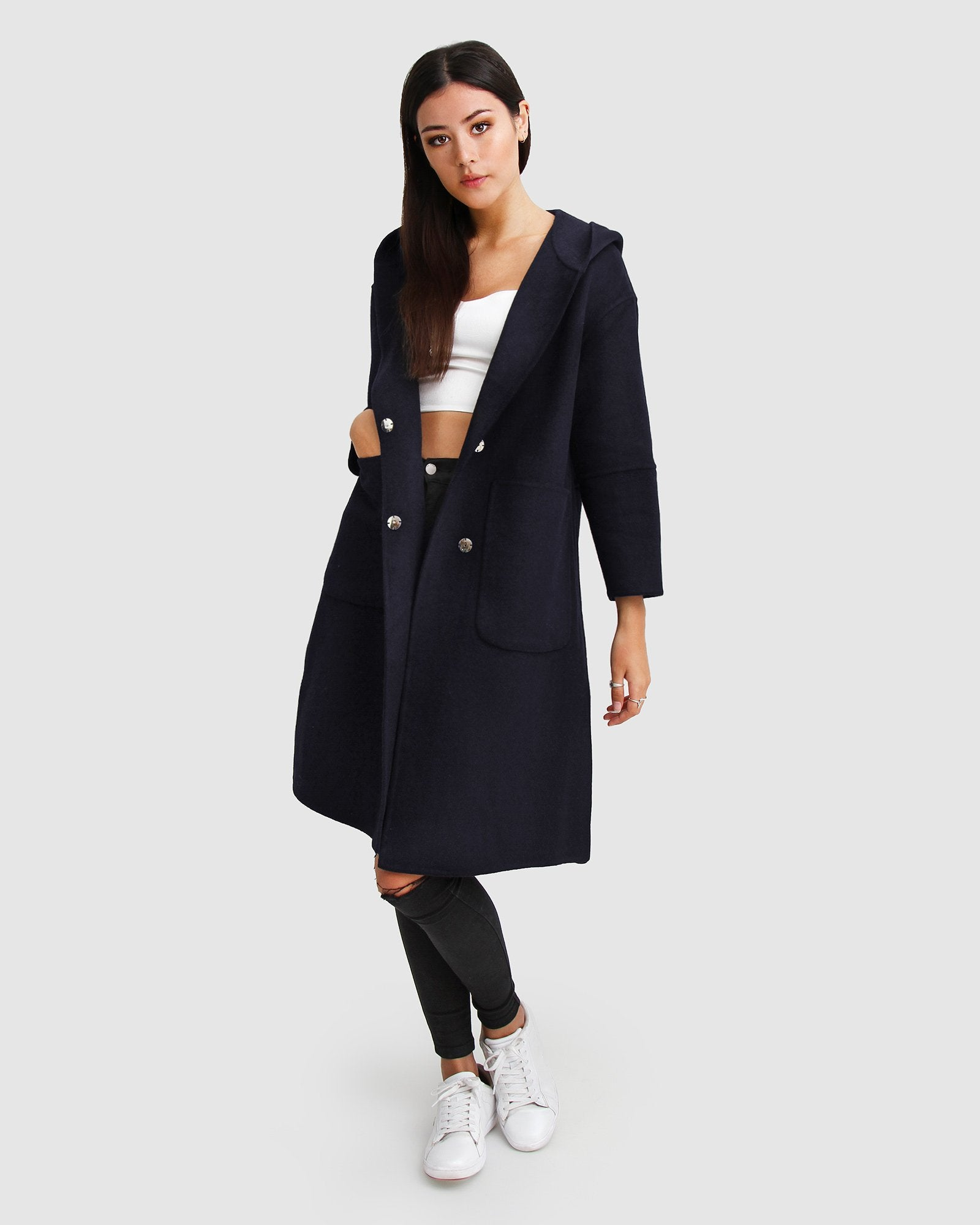 Walk This Way Wool Blend Oversized Coat  - Darkest Navy