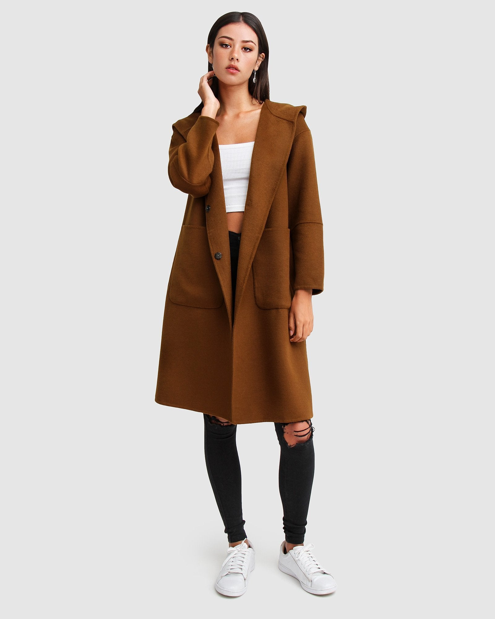 Walk This Way Wool Blend Oversized Coat - Dark Camel