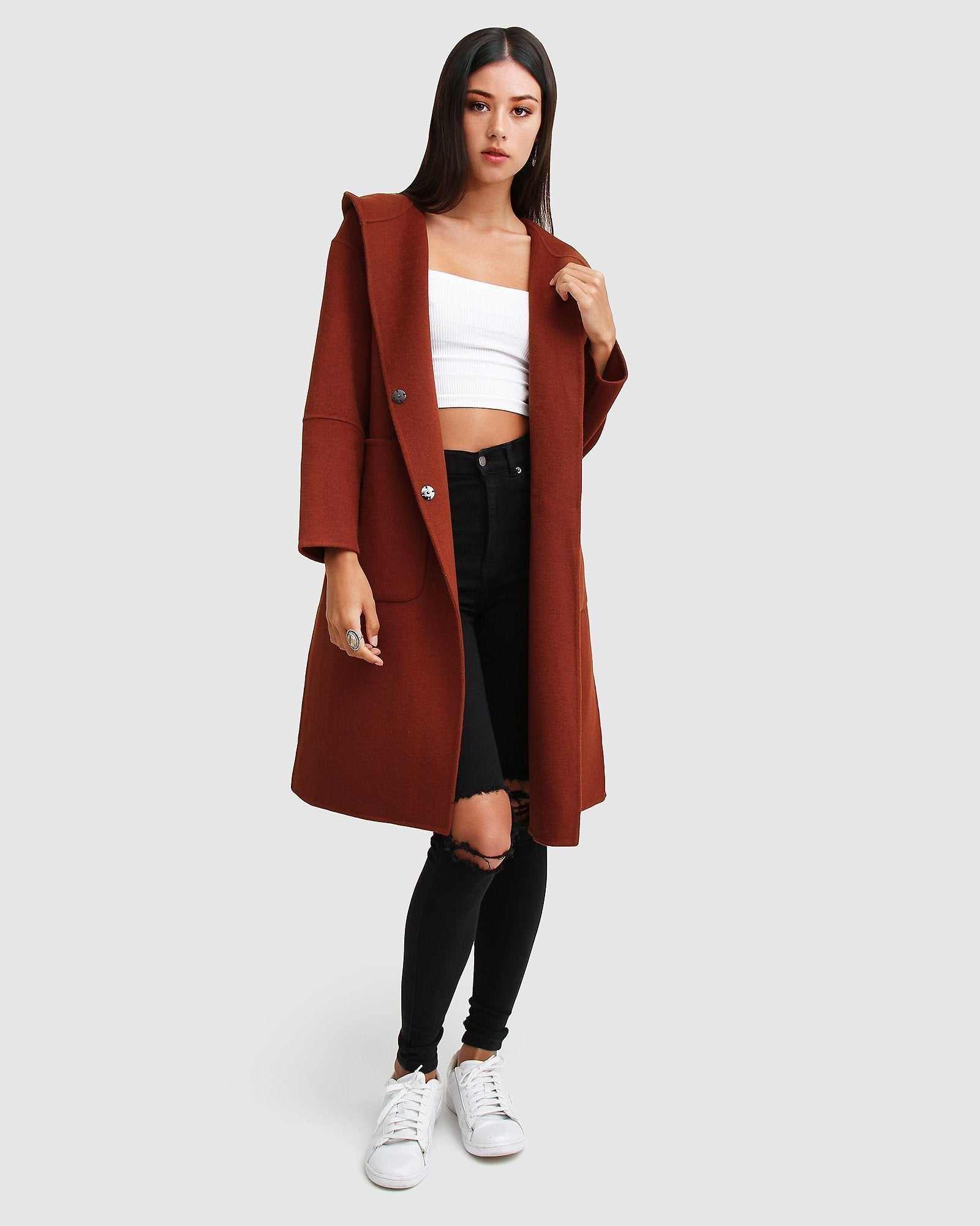Walk This Way Wool Blend Oversized Coat - Caramel