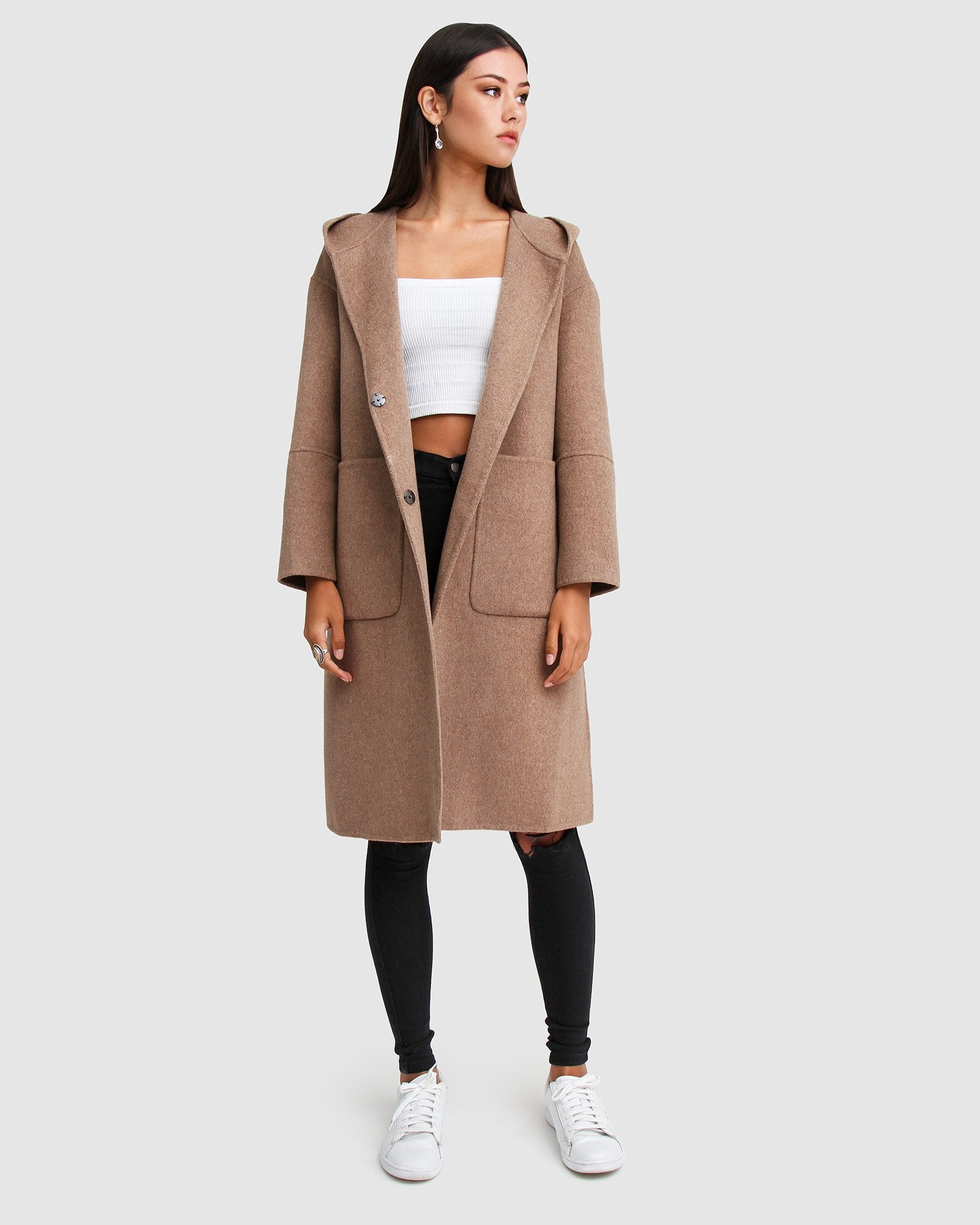 Walk This Way Wool Blend Oversized Coat - Oat