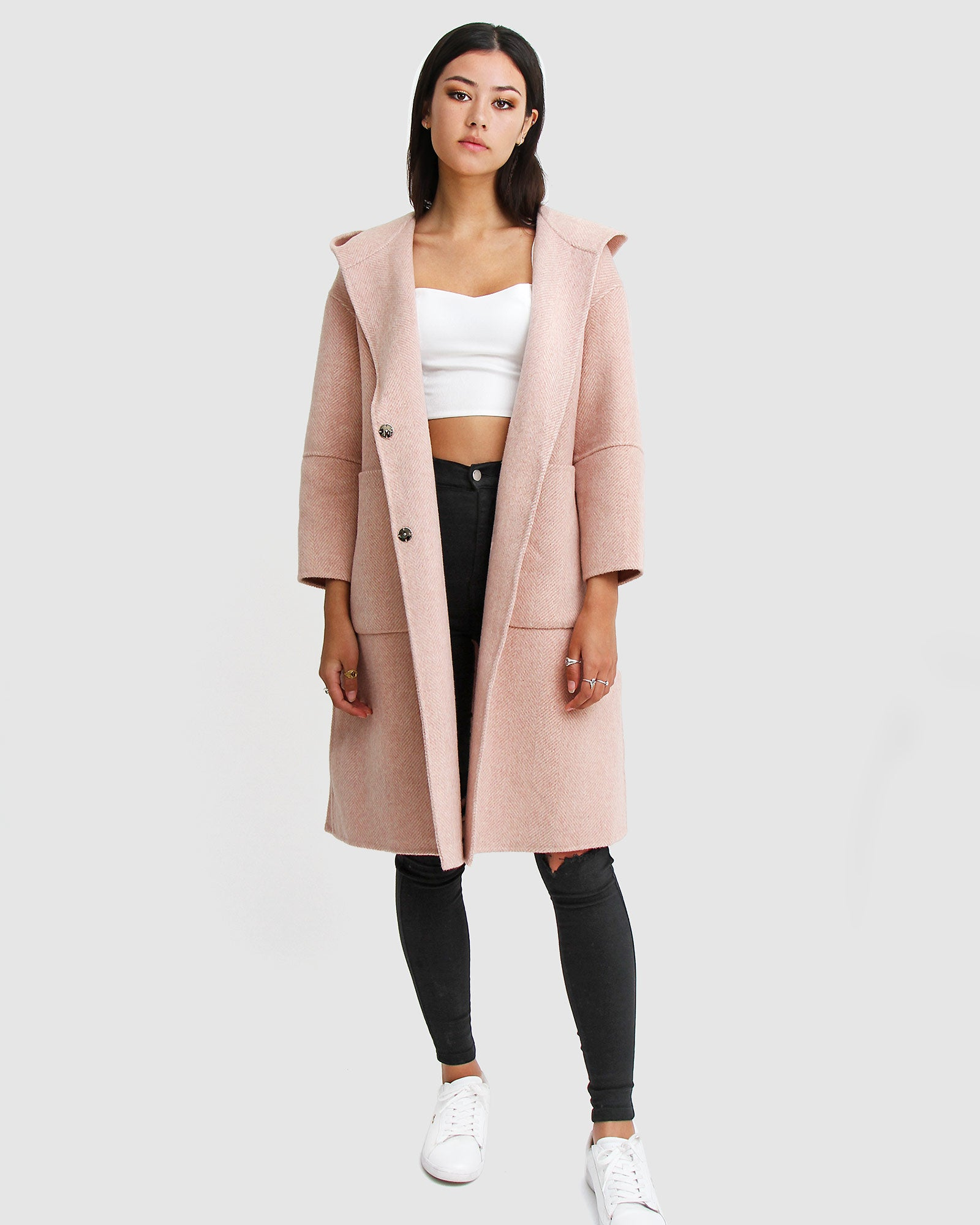 Walk This Way Wool Blend Oversized Coat - Blush Pink