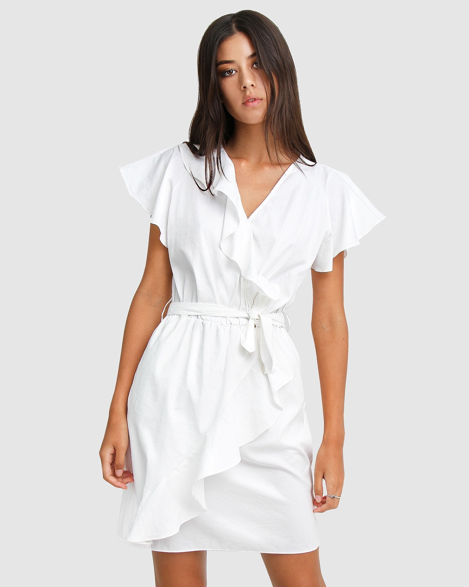 Best Selfie Ruffle Dress - White