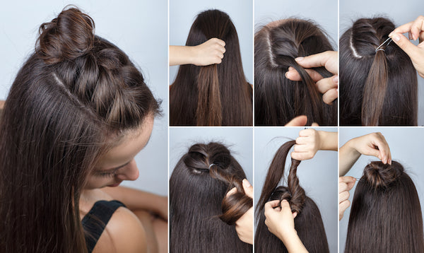 Bun Braid Half Up Half Down How to