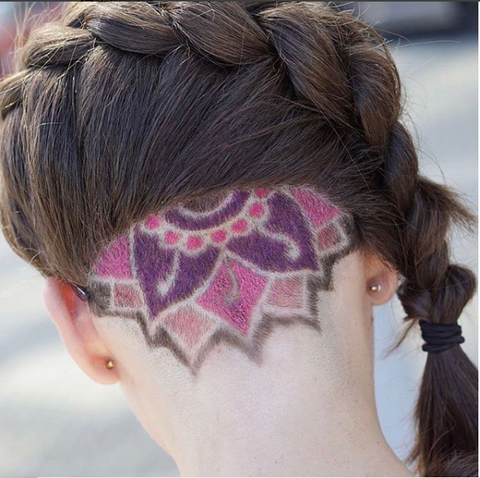 A beautiful pink and purple lotus inspired design, perfect for the girl who  wants to show an edgy feminine side.