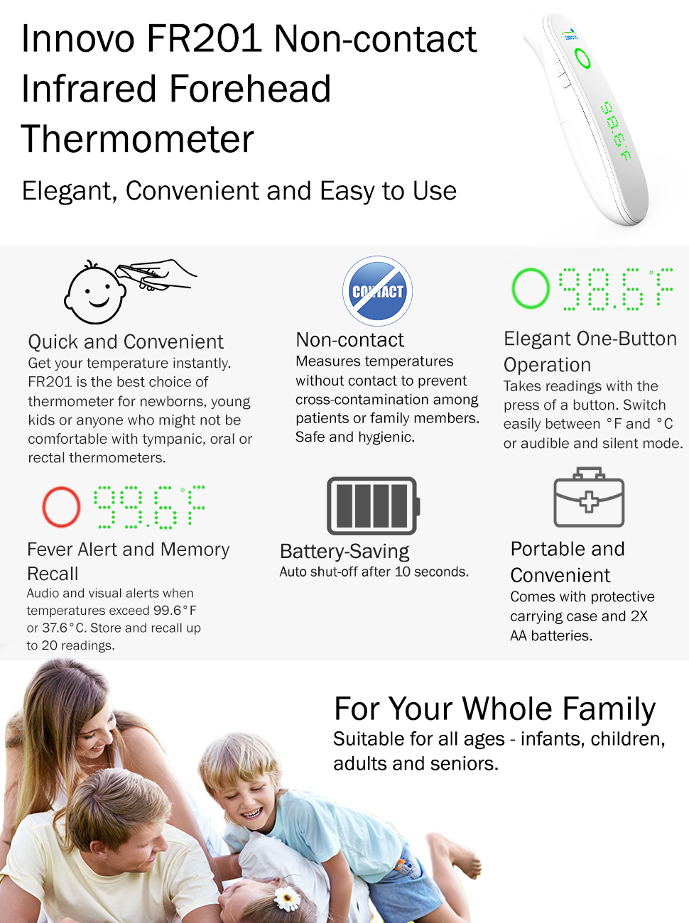 2018 Newly Upgraded Innovo Fr201 Non Contact Medical Forehead Thermometer Safety Manual About The Model Inv