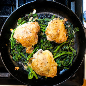 One-pan Crispy Chicken Thighs with Garlicky Broccoli Rabe
