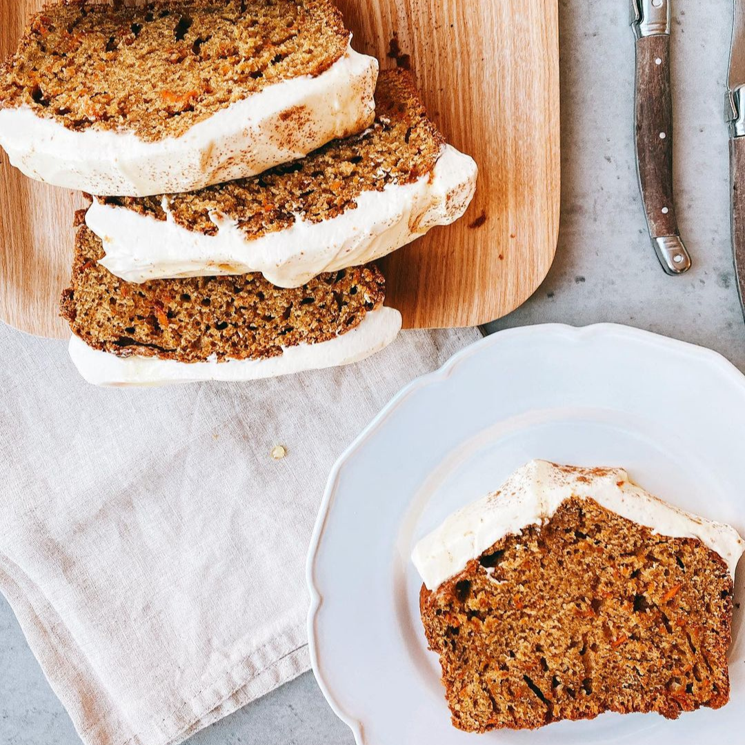 Chai Spiced Carrot Cake Loaf with Cream Cheese Frosting