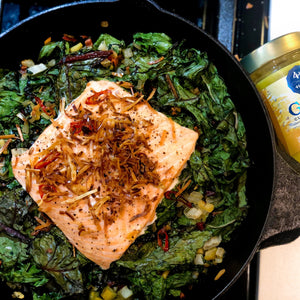 Turmeric Salmon with Rainbow Chard and Crispy Coconut Flakes