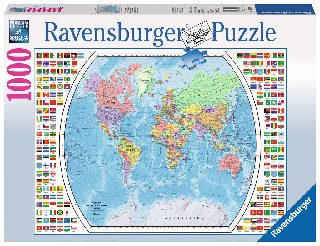 1000 pieces Political World Map Jigsaw Puzzle (19633 Ravensburger)