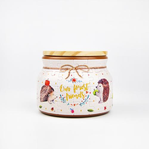 Jigsaw Puzzle Jar - Hedgehog and Apple