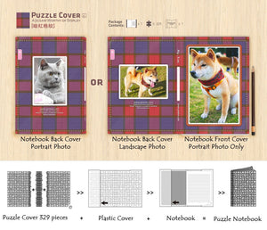 Customise Puzzle Notebook Cover_Checker (Red, Purple, Blue)