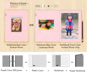 Customise Puzzle Notebook Cover_Pink Polka dots