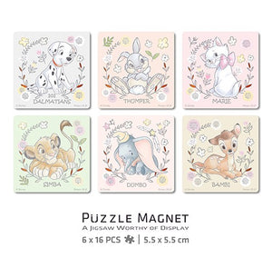 Puzzle Magnet Combo (96 pieces) - Disney Classic Cartoon Characters