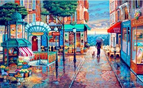 John O'Brien Rainy Day Stroll 1000 pieces Jigsaw Puzzle Pintoo