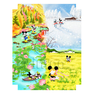 Puzzle Canvas Clock - Mickey & Minnie (4 Seasons)