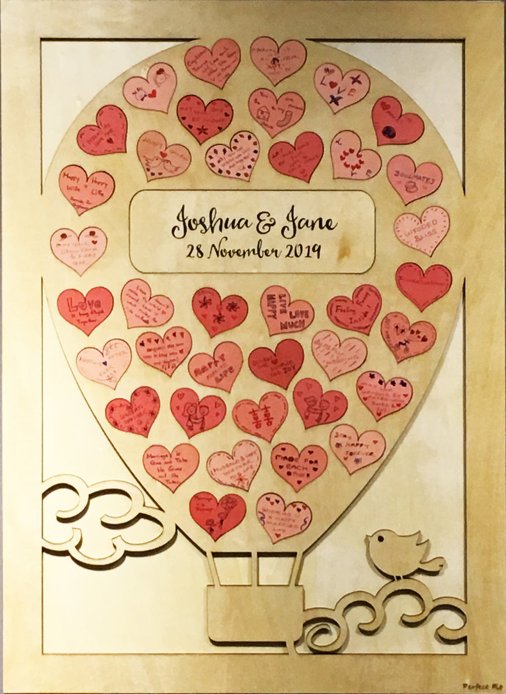 Hearts Wooden Guestbook Puzzles - Hot Air Balloon