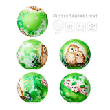 Puzzle Sphere Light - Kayomi - Owls and Kittens in the Green Forest