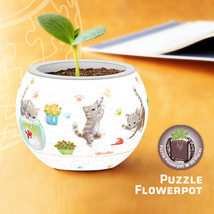 Puzzle Flowerpot - Cat's Play Time
