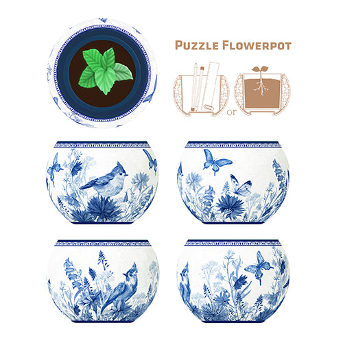 Puzzle Flowerpot (80 pieces) - Oriental Birds, Flowers and Butterfly