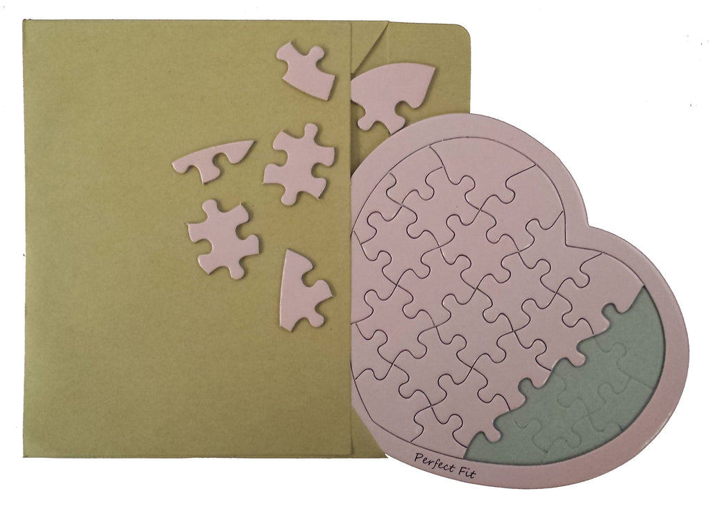 Pink Heart Puzzle Card