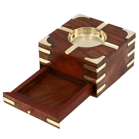 Large Decorative Wooden Ashtray With Cigarette Storage Case Box