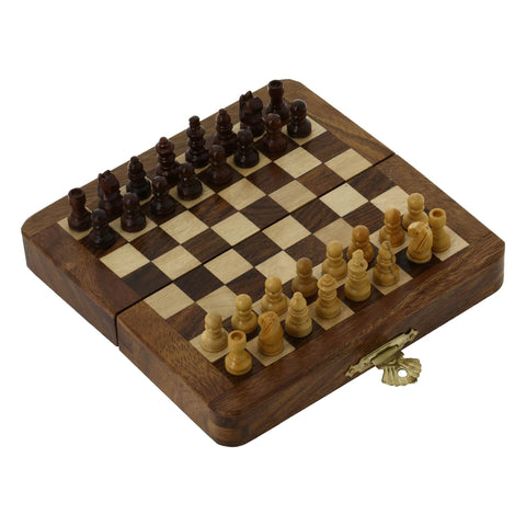 Folding Travel Chess Set And Board Wooden Pieces Unique Gifts