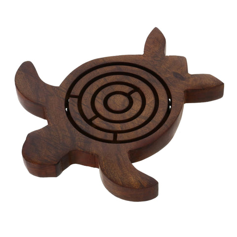 Handmade Wooden Turtle Labyrinth Maze Toy - Great Gifts for Adults and Kids