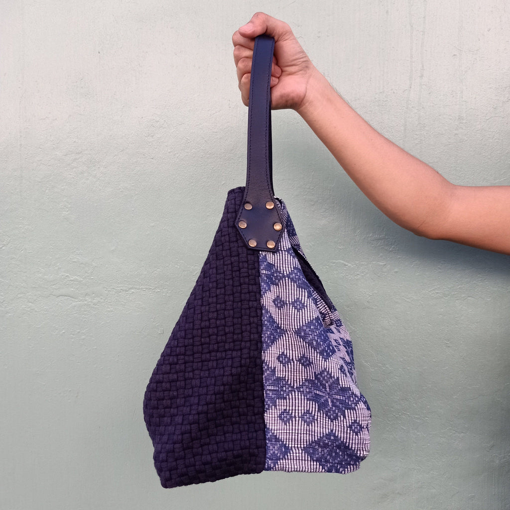 Buslo Navy with Light Navy Pinilian Weave Fashion Rags2Riches