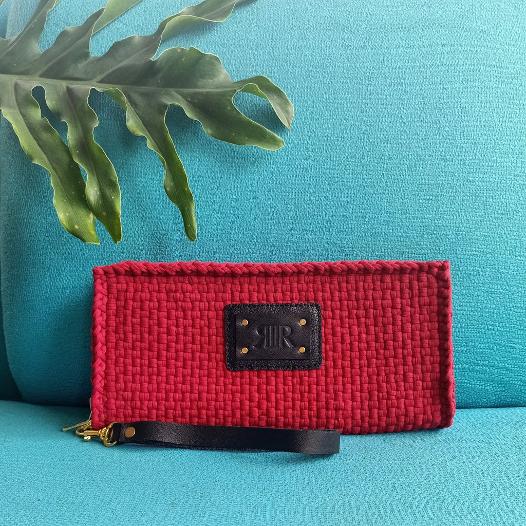 Cheska Wallet with Wristlet Deep Red Fashion Rags2Riches