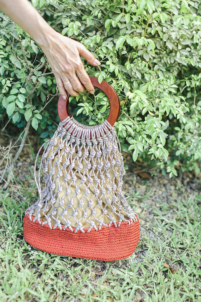 Molave Knotted Tote Burnt Orange Fashion Rags2Riches