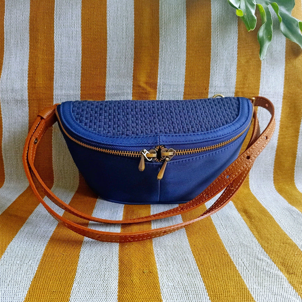 Noah Fanny Pack Navy Blue with Tan Leather Fashion Rags2Riches