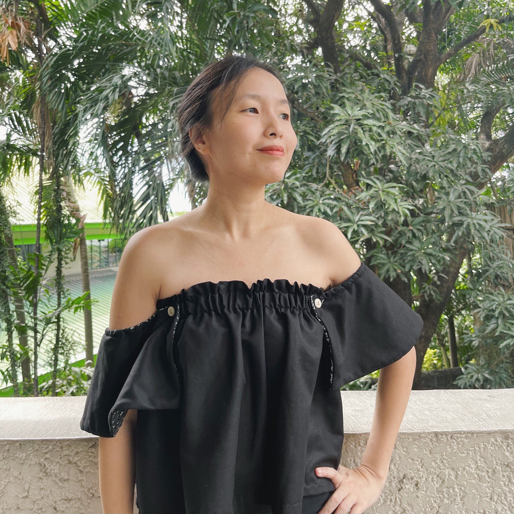 On-Off Shoulder Top Black with Pinilian Black Fashion Rags2Riches