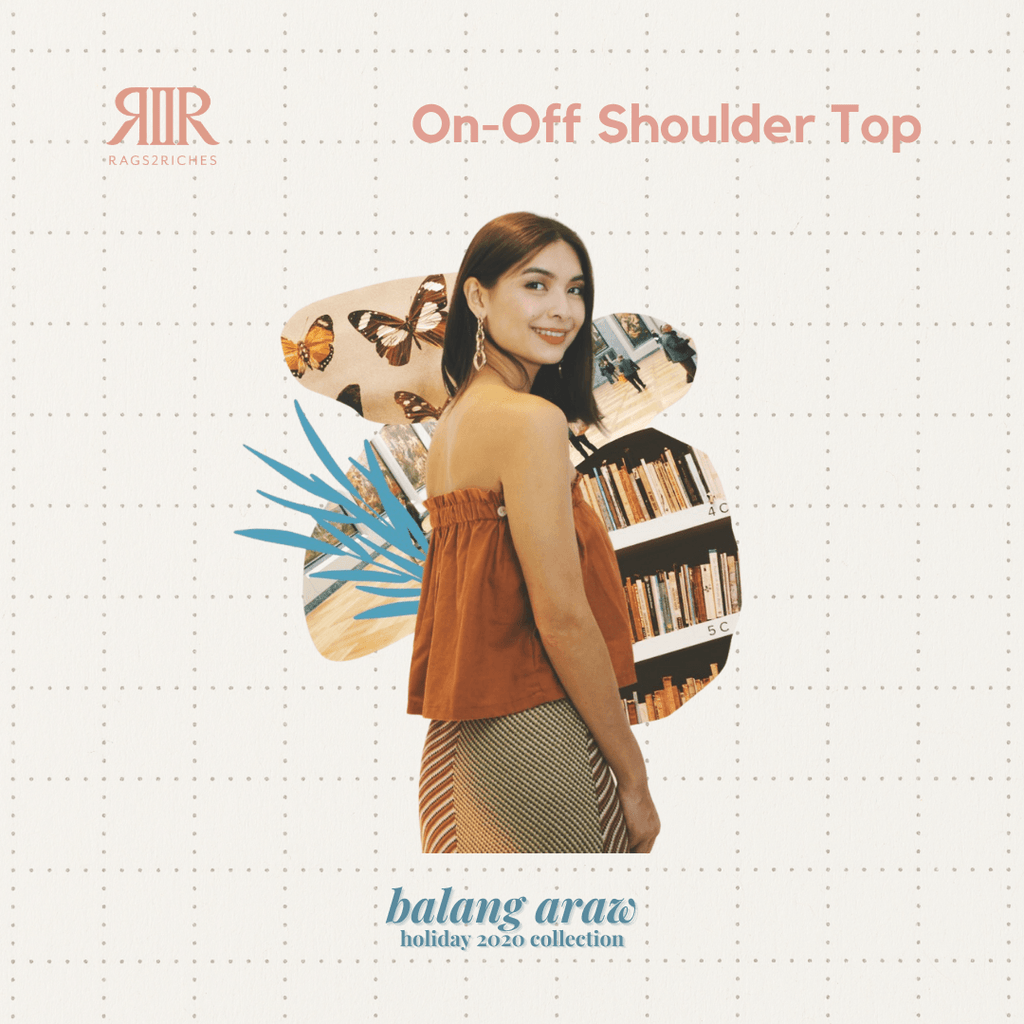 On-Off Shoulder Top in Rust (Balang Araw) Fashion Rags2Riches