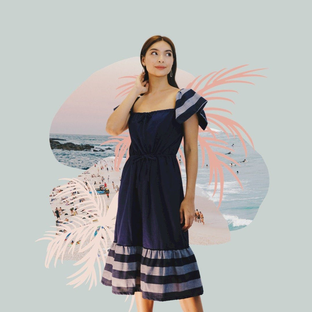 Salu-Salo Dress in Navy Fashion Rags2Riches