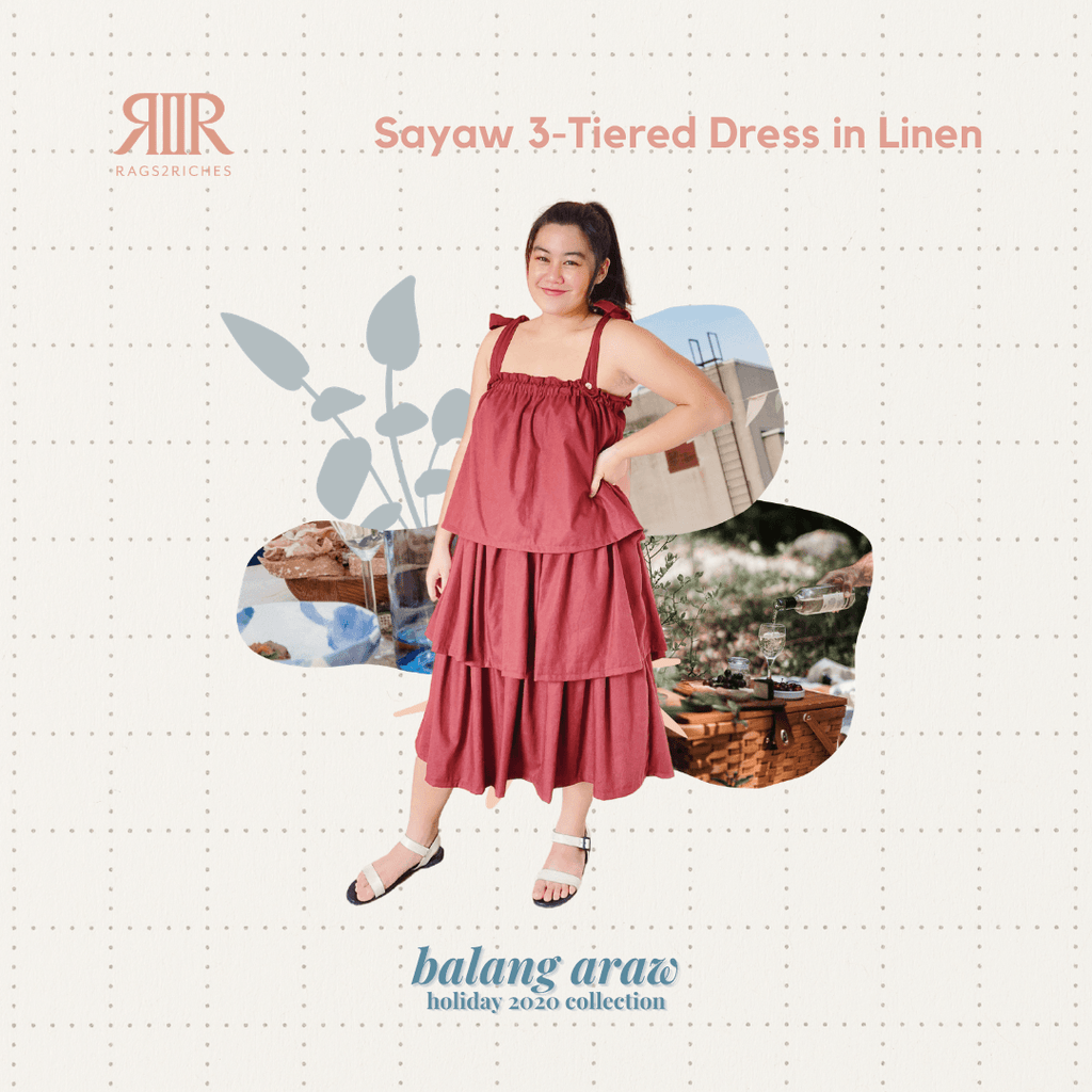 Sayaw 3-Tiered Dress in Sage Fashion Rags2Riches