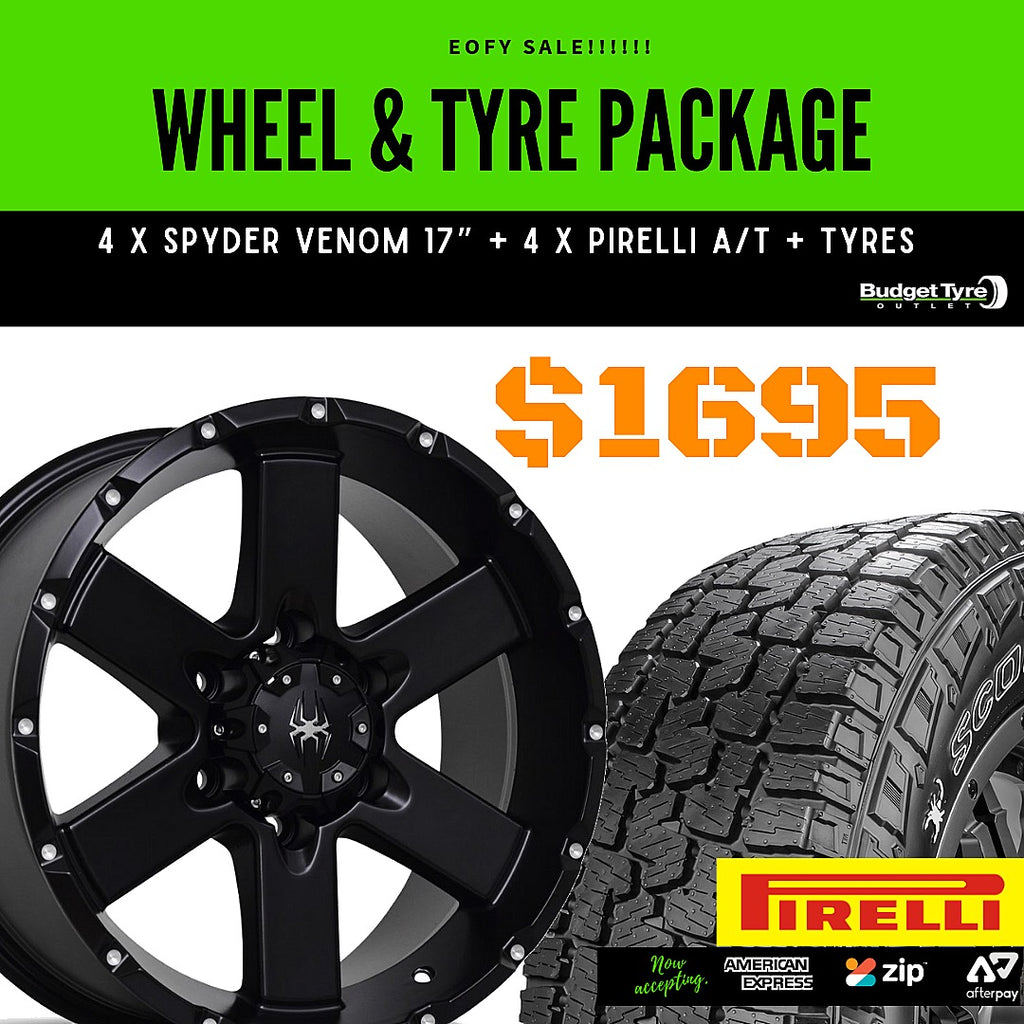 Wheel & Tyre Package - 4 X SPYDER VENOM WHEELS + 4 X PIRELLI AT PLUS TYRES, FITTED - BUDGET TYRE OUTLET Oxenford & Tweed