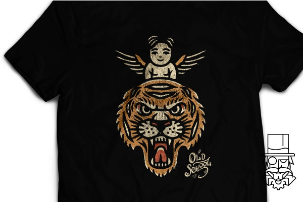 Old School Angel Tiger T-Shirt
