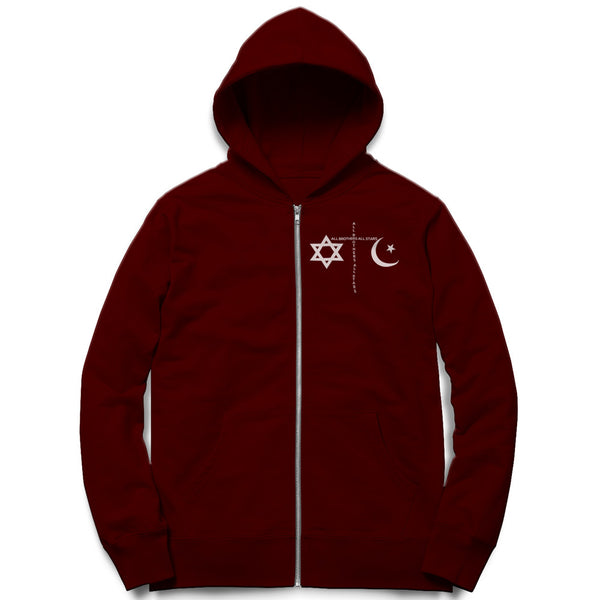 Unisex Anti-Religion Peace Zip Hoodie - ALL BROTHERS ALL STARS -  - Sweatshirts