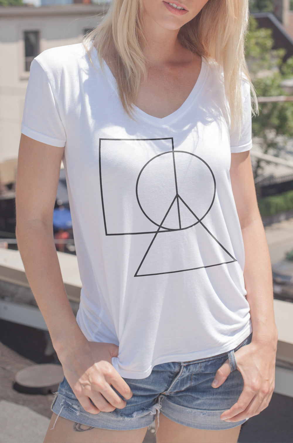 Women's V-Neck Peace Sign Tee - ALL BROTHERS ALL STARS -  - T-shirts - 2