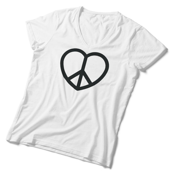 Made in USA V-Neck Peace and Love Sign Tee - ALL BROTHERS ALL STARS -  - T-shirts - 1